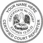 Louisiana Certified Court Reporter ED Desk Seal