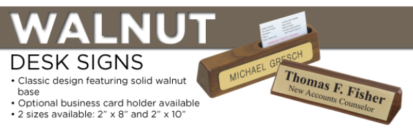 Walnut Desk Signs